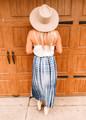 Tie Dye Button Up Open Maxi Skirt Navy