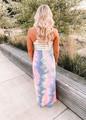 Tie Dye Bottom Stripe Top Maxi Dress CLEARANCE