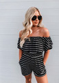 Off Shoulder Ruffle Stripe Cinched Shorts Romper Black