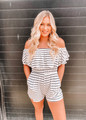 Off Shoulder Ruffle Stripe Cinched Shorts Romper Ivory CLEARANCE