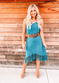 Mineral Dyed Fringed High Low Dress Turquoise