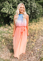 Can't Buy Me Love Ombre Pleated Maxi Dress Peach CLEARANCE