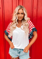 Perfect Patriotic Bell Sleeve Top CLEARANCE