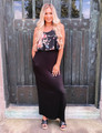 Floral Print Ruffle Top Maxi Dress Black CLEARANCE