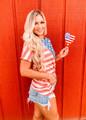 Soft Comfy American Flag Asymmetric Top