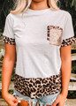 Leopard and Sequins Detail Top Grey