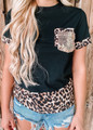 Leopard and Sequins Detail Top Black