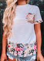 Floral and Sequins Detail Top White