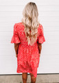 Leopard Woven Babydoll Tiered Dress Coral