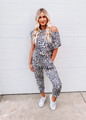 All in One Piece Leopard Tie Jogger Style Jumpsuit