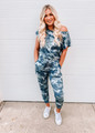 All in One Piece Camo Tie Jogger Style Jumpsuit Green