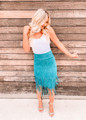 Blue Buttercup Fringed Skirt Turquoise