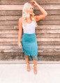 Blue Buttercup Fringed Skirt Turquoise CLEARANCE