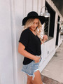 V Neck Short Cuffed Sleeve French Terry Top Black