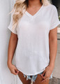 V Neck Short Cuffed Sleeve French Terry Top White