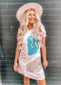 Casual Watercolor Spotted Unique Design Dress Tan CLEARANCE
