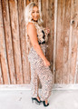 Leopard Print Woven Tie Cinched Pants Taupe