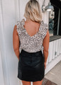 Leopard Ruffle Shoulder Tank Top Lt Taupe CLEARANCE