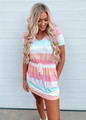 Multi Colored Stripe Cinched Waist Pocket Dress Pink CLEARANCE