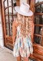 Tie Shoulder Watercolor Tier Dress Beige