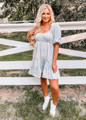 Gingham Checkered Babydoll Dress Grey CLEARANCE