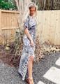 Tropical Print Kimono Style Maxi Dress Charcoal CLEARANCE
