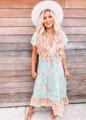 Ruffle Floral Boho Maxi Dress Mint/Apricot CLEARANCE