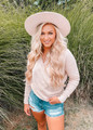 Deep V-Neck Long Sleeve Knit Sweater Taupe