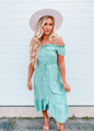 High Low Button Cinched Waist Off Shoulder Dress Green CLEARANCE