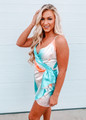 Multi Color Marble V-Neck Mini Dress Aqua CLEARANCE