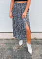 Smocking Waist Maxi Skirt with Side Pockets Zebra
