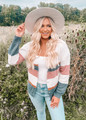 Colorblock Button Closure Knit Sweater