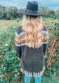 Knit Aztec Print Fringed Sweater Black