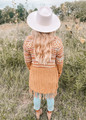 Open Front Tribal Aztec Fringe Kimono Mustard