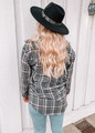 Checkered Plaid Flannel Button Up Top Black