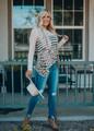 Leopard Print Stripe High Low Top Khaki