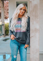 Good Vibes Graphic Pullover Sweater Top Grey