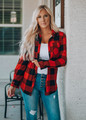 Super Stretch Buffalo Plaid Button Up Top Red/Black