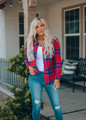 Looking Good Plaid Button Up Top Pink/Red