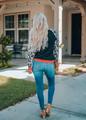 Leopard Sleeve Heather Black Print Trim Sweatshirt