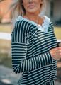 Beautiful  Lace Striped Twist V Neck Top Black