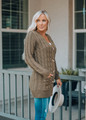 Chunky Button Relax Fit Pocket Knit Cardigan Olive