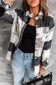 Plaid Button Color Block Long Sleeve Jacket Grey