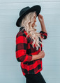 Buffalo Plaid Print Button Up Hooded Top Red