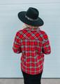 Plaid Boyfriend Fit Button Down Jacket Top Red