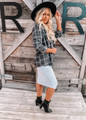 Plaid Boyfriend Fit Button Down Jacket Top Charcoal