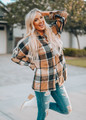 Geo Plaid Print Button Up Jacket Top Brown