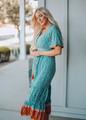 Ruffle Boho Floral Maxi Dress Turquoise