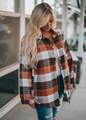 Button Down Plaid Flannel Tunic Shirt Brown