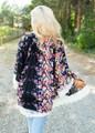 Impeccable Oversized Floral Lace Kimono Black